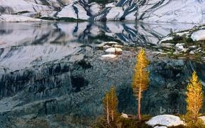 Picture autumn, trees, mountains, lake, CA, USA, Pear Lake, Sequoia national Park