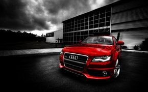 Picture auto, landscape, sunset, red, audi
