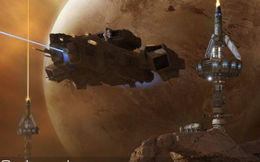 Picture space, planet, stars, spaceship, astronaut, Helios, Outpost, Riding the Beam, NASTROMO