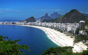 Picture sea, beach, the sky, mountains, blue, coast, home, panorama, Brazil, the view from the top, …