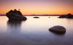 Picture rock, lake, dawn, Lake Tahoe, Bonsai Rock