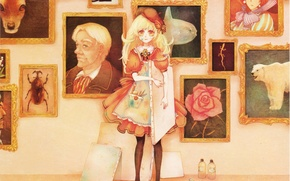 Picture frame, pencils, girl, pictures, tubes, canvas, takes, apron