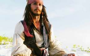 Wallpaper Pirates of the Caribbean, Jack Sparrow, Beach, Johnny Depp