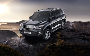 Picture the sky, mountains, jeep, SUV, Toyota, the front, 200, Toyota, Land Cruiser, Land Cruiser