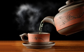 Picture green, kettle, Cup, saucer, hot tea