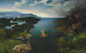 Wallpaper Joachim Patinir, Joachim Of Patinir, Crossing to the Underworld