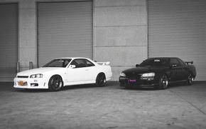 Picture Nissan, white, GT-R, black, R34