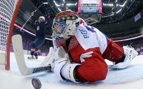 Picture USA, United States, Russia, games, Olympic, goal, 2014, Hockey, Sochi, Russian Federation, Joe Pavelski, Bobrovsky, …