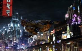 Picture flight, night, the city, lights, starship, Star Citizen, Freelancer