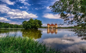 Picture the sky, trees, lake, castle, tower, Germany, Saxony, Moritzburg