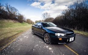 Picture Nissan, Black, Road, GTT, Skyline. R34