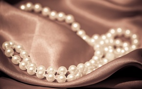 Picture style, background, necklace, fabric, pearl, beads, decoration, luxury, widescreen, full screen, HD wallpapers, accessory, widescreen