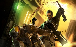 Picture weapons, blood, battle, deus ex: human revolution