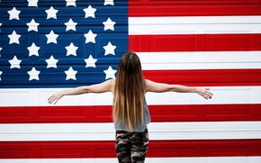 Picture girl, wall, flag