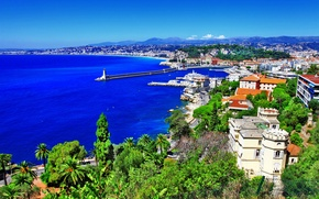 Picture sea, trees, landscape, mountains, rock, stones, palm trees, coast, France, lighthouse, home, panorama, Nice, Nice