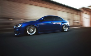 Picture speed, mitsubishi, blue, blue, lancer, evolution, Lancer, evo x, Mitsubishi