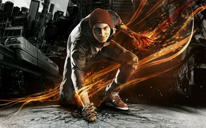 Picture asphalt, the city, cracked, fire, hat, smoke, sneakers, home, tattoo, the car, chain, guy, grin, ...