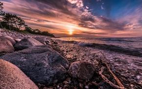 Picture stones, shore, surf, Denmark, Hornbæk