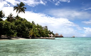 Picture beach, the sky, the ocean, island, the Maldives