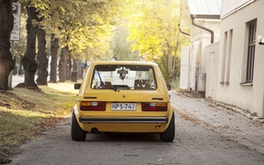 Picture trees, street, home, Volkswagen, Golf, sunlight, tail lights, Mk1, rear