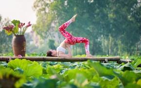 Wallpaper pose, yoga, gymnastics, girl, nature, legs, Asian