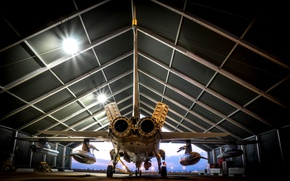 Picture weapons, hangar, the plane