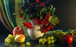 Picture berries, apples, Apple, grapes, vase, fruit, still life, peach