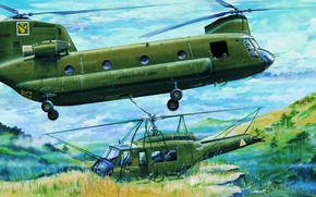 Wallpaper painting, war, helicopter, MH-47 Chinook, art
