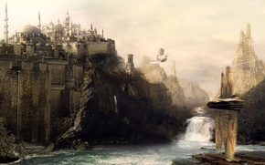Wallpaper waterfall, river, castle