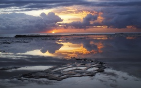 Picture sand, the sky, water, the sun, clouds, clouds, reflection, sunrise, the ocean, dawn, shore, morning, …