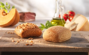 Picture food, cakes, sesame, buns, sunflower seeds, Italian bread, ciabatta
