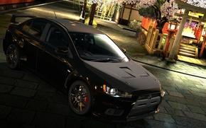 Picture machine, black, Mitsubishi, Lancer