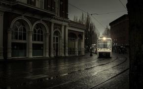 Wallpaper street, train, travel, rain, Portland, street, train, rain, travel, portland
