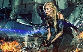 Picture future, silver, fire, red, gun, white, black, android, woman, yellow, machine, rocks, terminator, blonde, gray, ...
