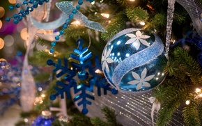 Picture decoration, ball, tree, snowflake