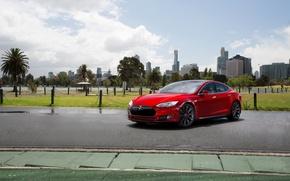 Picture Red, Car, Model, Tesla, Motors, P85, Metallic, 2010-14