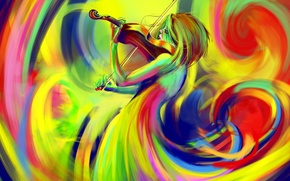 Picture color, violin, figure, bow, rainbow