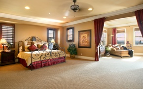 Picture design, bed, beautiful, curtains, mansion, Design, bedroom, lamps, Interior, Bedroom