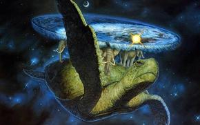 Picture space, fantasy, turtle, elephants, Discworld Terry Pratchett