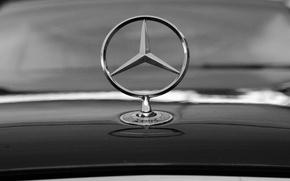 Picture Mercedes, Black and white, Icon