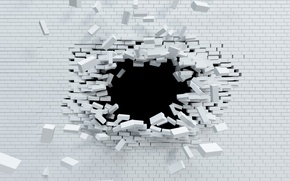 Picture explosion, wall, white, brick