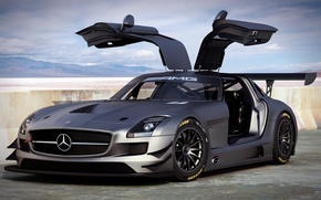 Picture Mercedes-Benz, art, supercar, Car, AMG, SLS, GT3, dangeruss