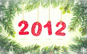 Picture snowflakes, branches, holiday, the number, year