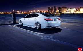 Picture Car, White, Tuning, Acura, Vossen, Wheels, Rear, TLX, Nigth
