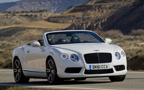 Picture Bentley, Continental, White, Convertible, Grille, The hood, Bentley, Lights, Car, GTC