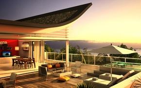 Picture design, house, style, Villa, interior, penthouse, terrace, living space