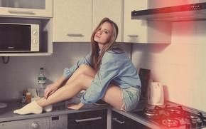 Picture Girl, Girl, Kitchen, Beautiful, Bed, Beautiful, Kitchen, Mike, Olya, Olya