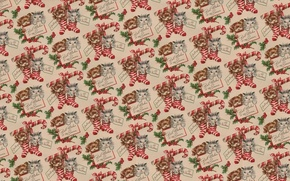 Wallpaper background, holiday, gift, Christmas, texture, puppy, New year, kitty, stocking, a sprig of spruce, Desk