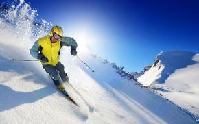 Picture winter, the sun, snow, sport, ski