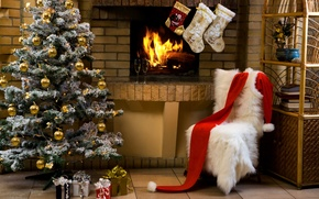 Wallpaper holiday, tree, Christmas, glasses, gifts, fireplace, champagne